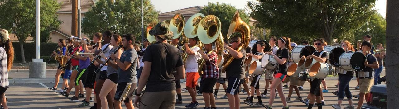students marching band camp-tubas